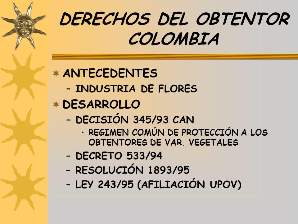 DERECHOS DEL OBTENTOR COLOMBIA
