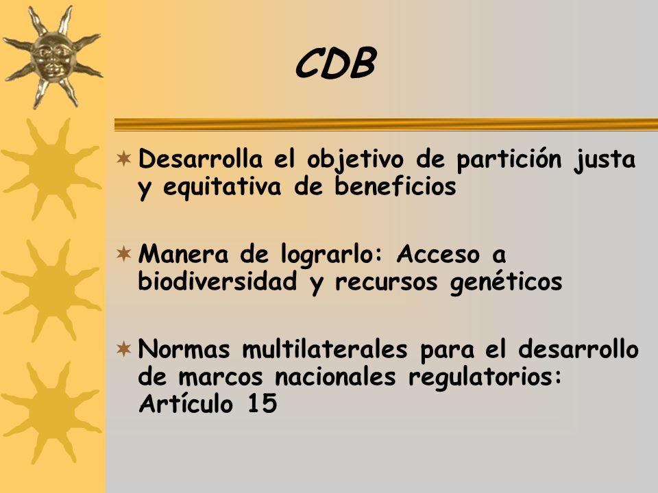 CDB Desarrolla el objetivo de partición justa y equitativa de beneficios. Manera de lograrlo: Acceso a biodiversidad y recursos genéticos.
