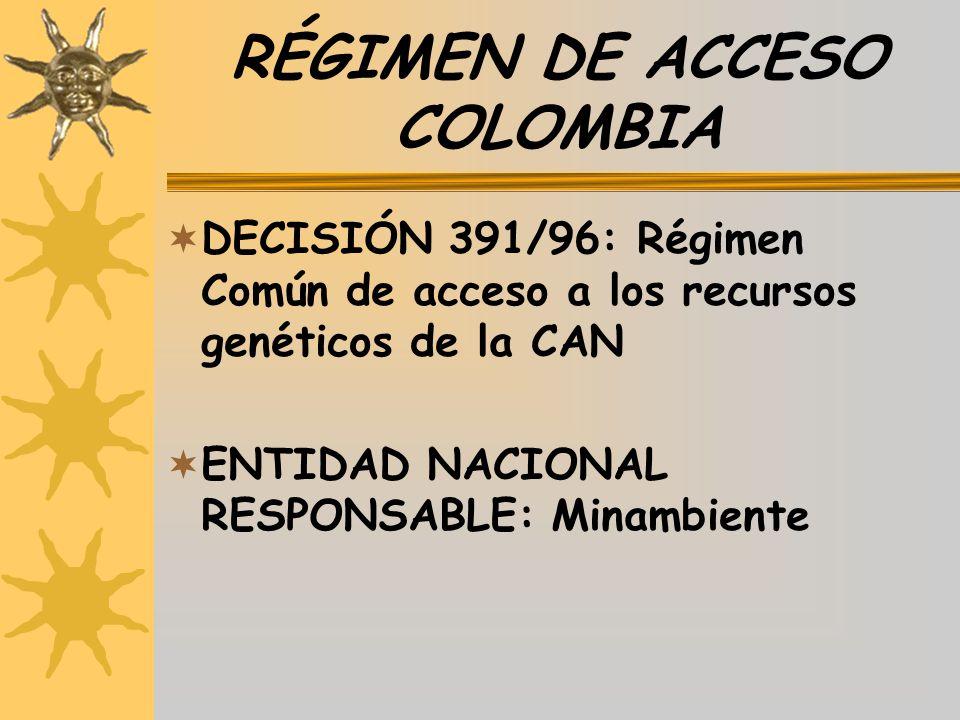 RÉGIMEN DE ACCESO COLOMBIA
