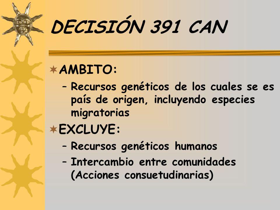 DECISIÓN 391 CAN AMBITO: EXCLUYE: