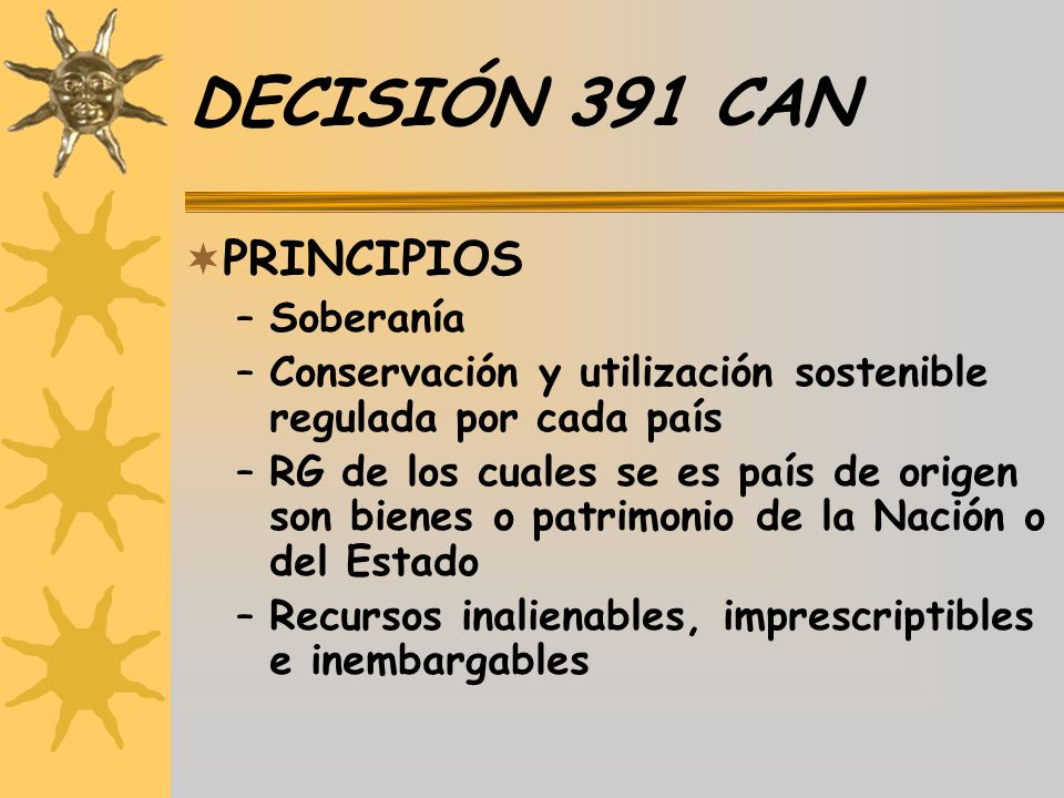 DECISIÓN 391 CAN PRINCIPIOS Soberanía