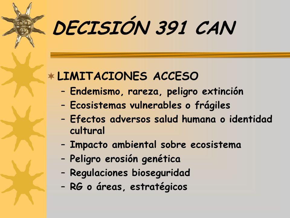 DECISIÓN 391 CAN LIMITACIONES ACCESO