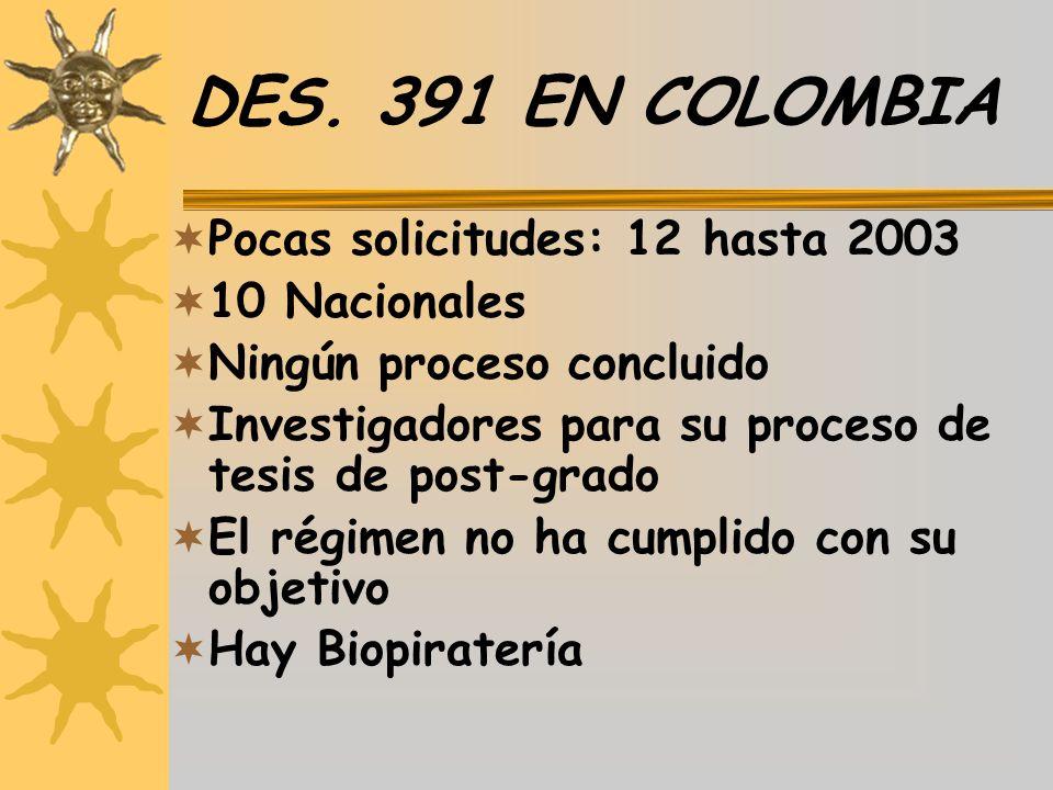 DES. 391 EN COLOMBIA Pocas solicitudes: 12 hasta 2003 10 Nacionales