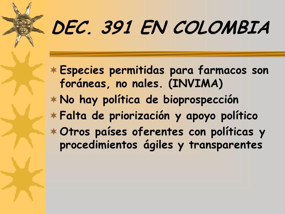 DEC. 391 EN COLOMBIA Especies permitidas para farmacos son foráneas, no nales. (INVIMA) No hay política de bioprospección.