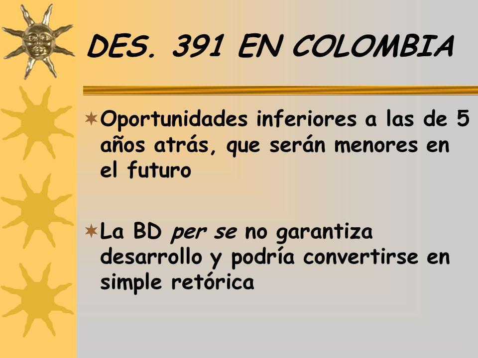 DES. 391 EN COLOMBIA Oportunidades inferiores a las de 5 años atrás, que serán menores en el futuro.