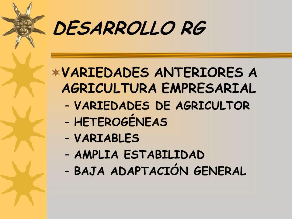 DESARROLLO RG VARIEDADES ANTERIORES A AGRICULTURA EMPRESARIAL