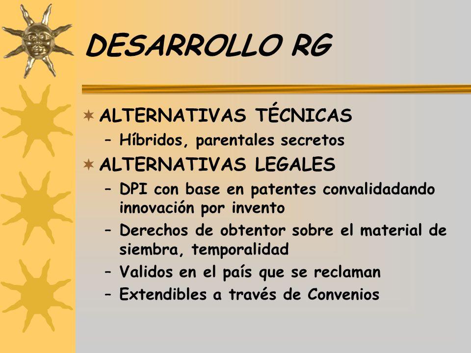 DESARROLLO RG ALTERNATIVAS TÉCNICAS ALTERNATIVAS LEGALES