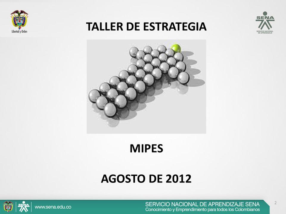 TALLER DE ESTRATEGIA MIPES AGOSTO DE 2012