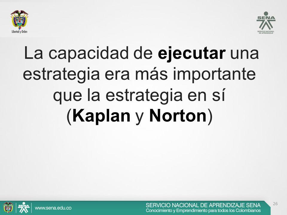 La capacidad de ejecutar una estrategia era más importante que la estrategia en sí (Kaplan y Norton)
