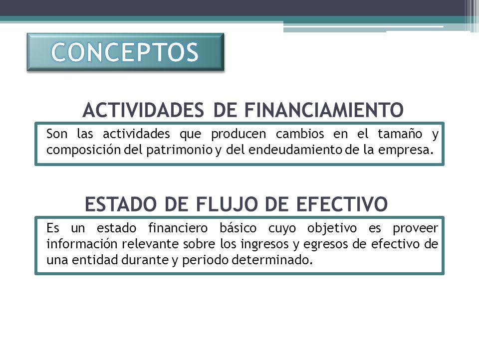 CONCEPTOS ACTIVIDADES DE FINANCIAMIENTO ESTADO DE FLUJO DE EFECTIVO
