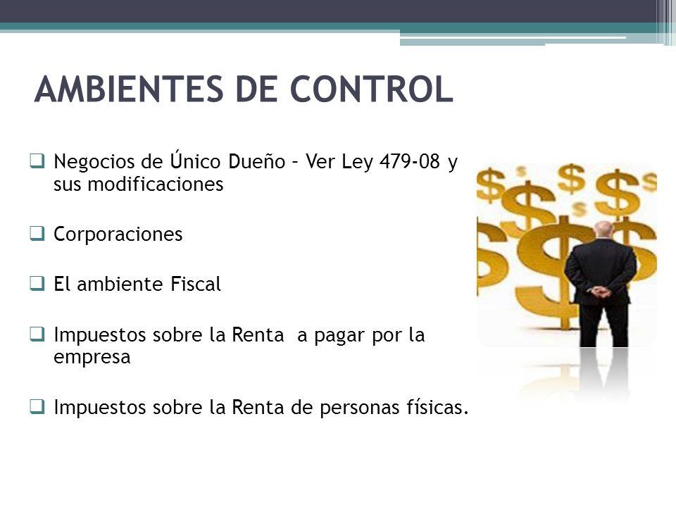 AMBIENTES DE CONTROL Negocios de Único Dueño – Ver Ley 479-08 y sus modificaciones. Corporaciones.