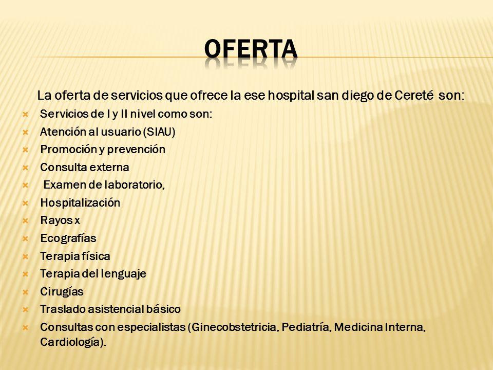 OFERTA La oferta de servicios que ofrece la ese hospital san diego de Cereté son: Servicios de I y II nivel como son: