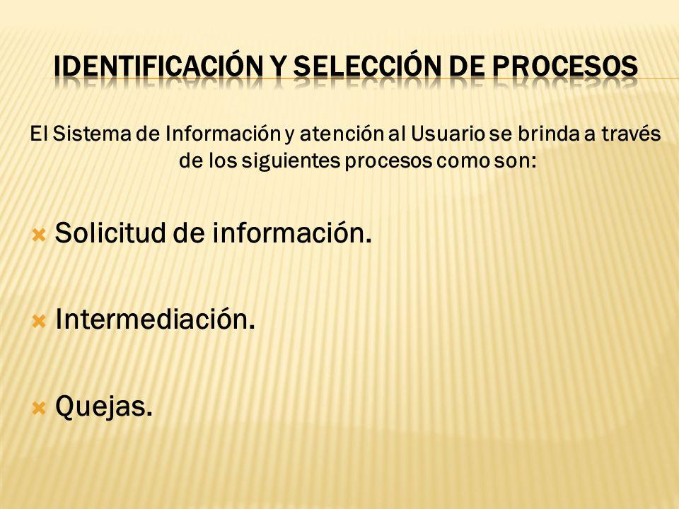 Identificación y selección de procesos