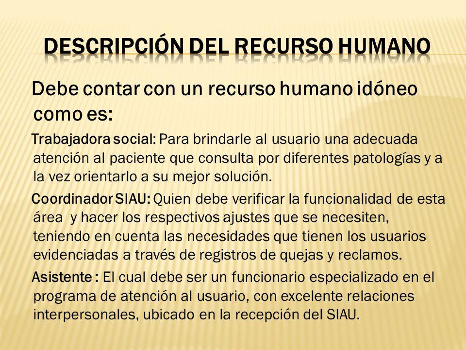 DESCRIPCIÓN Del recurso humano