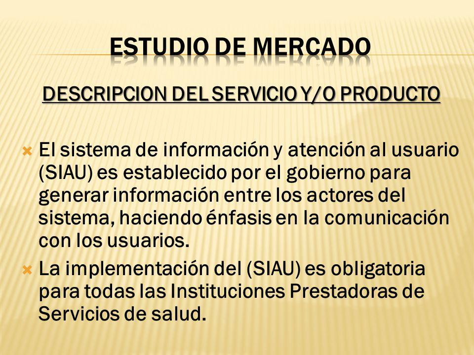 DESCRIPCION DEL SERVICIO Y/O PRODUCTO