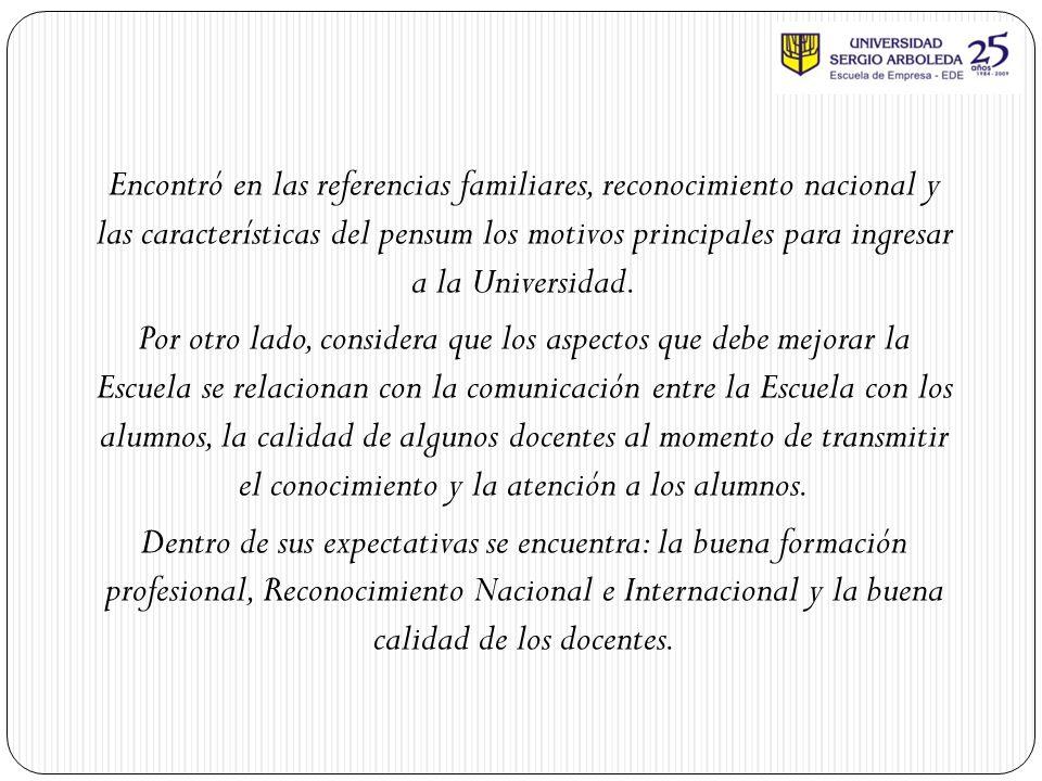 Encontró en las referencias familiares, reconocimiento nacional y las características del pensum los motivos principales para ingresar a la Universidad.