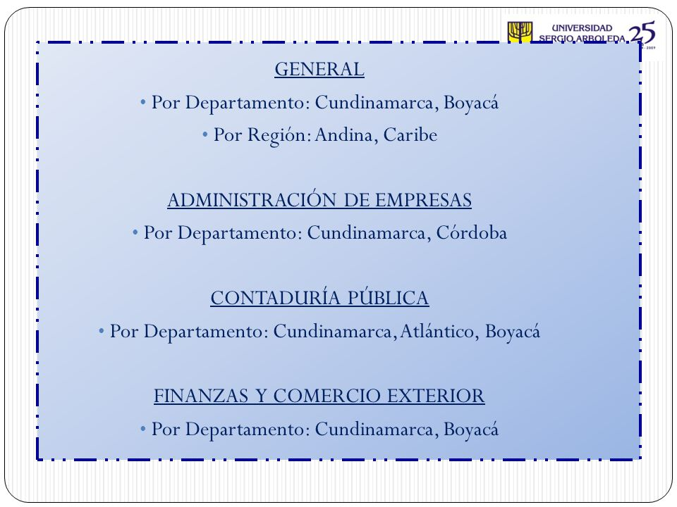 Por Departamento: Cundinamarca, Boyacá Por Región: Andina, Caribe