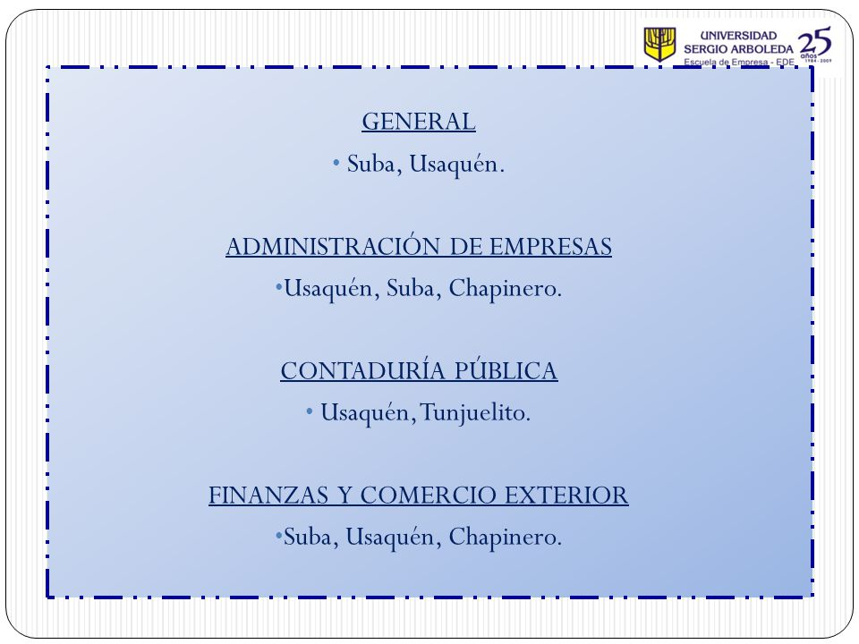 ADMINISTRACIÓN DE EMPRESAS Usaquén, Suba, Chapinero.