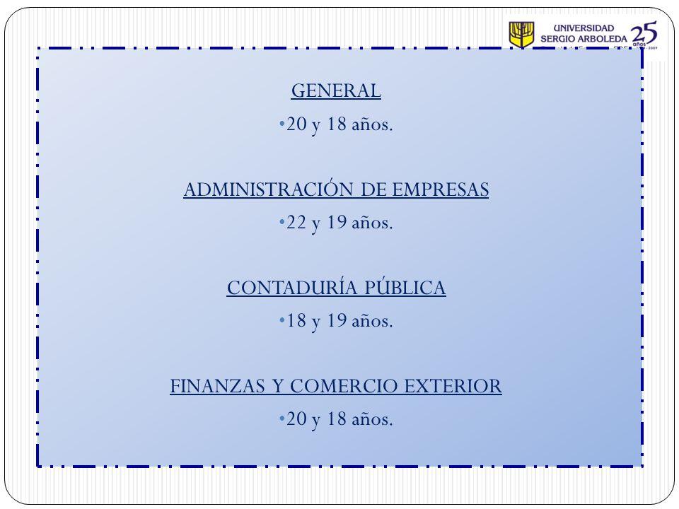 ADMINISTRACIÓN DE EMPRESAS 22 y 19 años. CONTADURÍA PÚBLICA