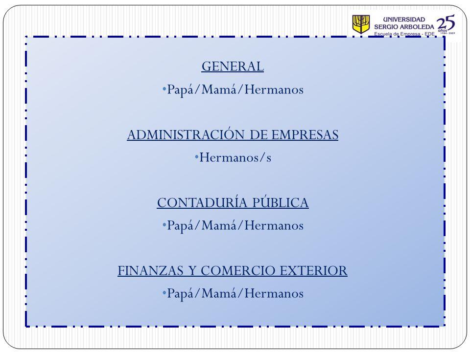 ADMINISTRACIÓN DE EMPRESAS Hermanos/s CONTADURÍA PÚBLICA