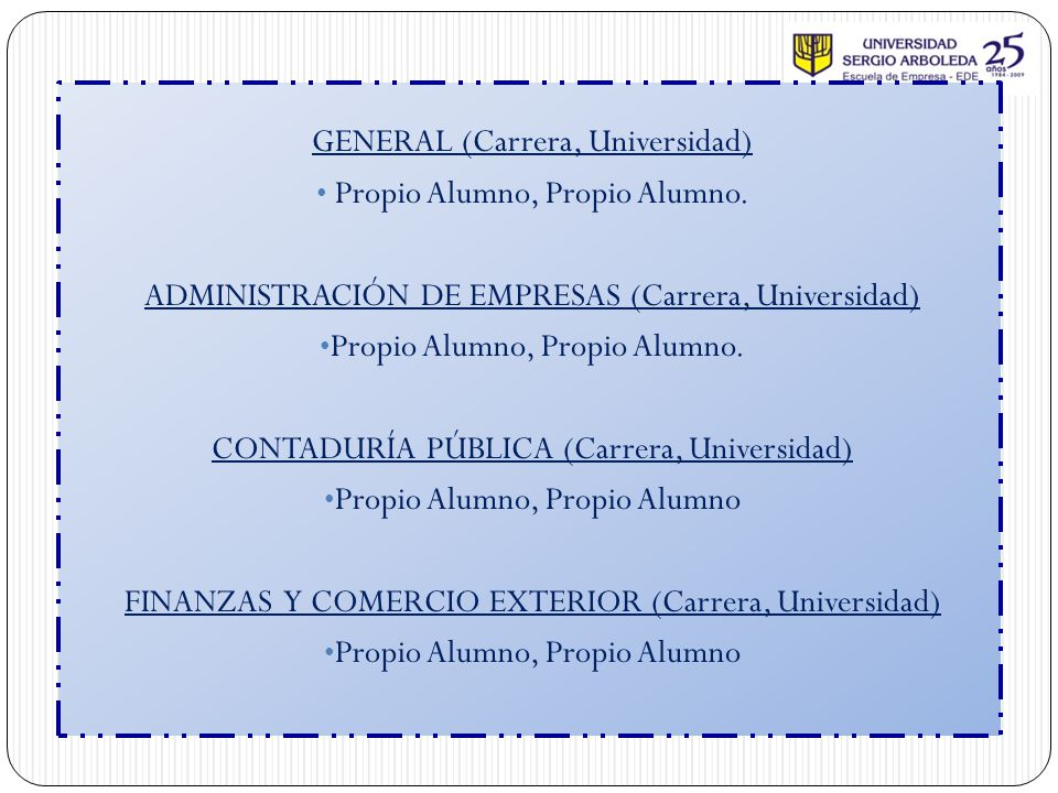 GENERAL (Carrera, Universidad) Propio Alumno, Propio Alumno.