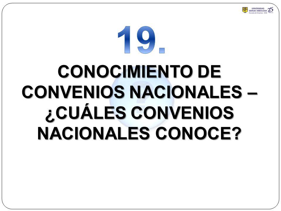 19. CONOCIMIENTO DE CONVENIOS NACIONALES – ¿CUÁLES CONVENIOS NACIONALES CONOCE