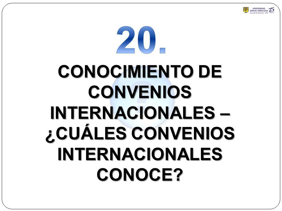 20. CONOCIMIENTO DE CONVENIOS INTERNACIONALES –