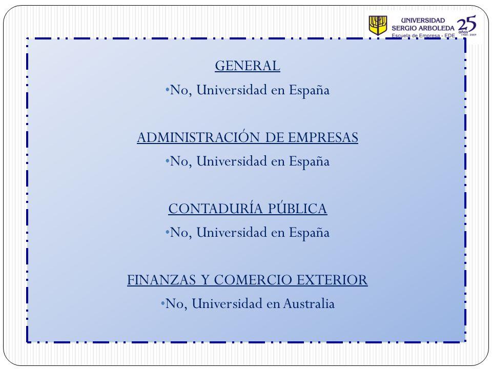 No, Universidad en España ADMINISTRACIÓN DE EMPRESAS