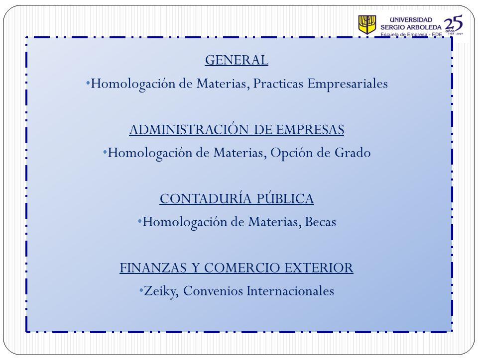 Homologación de Materias, Practicas Empresariales