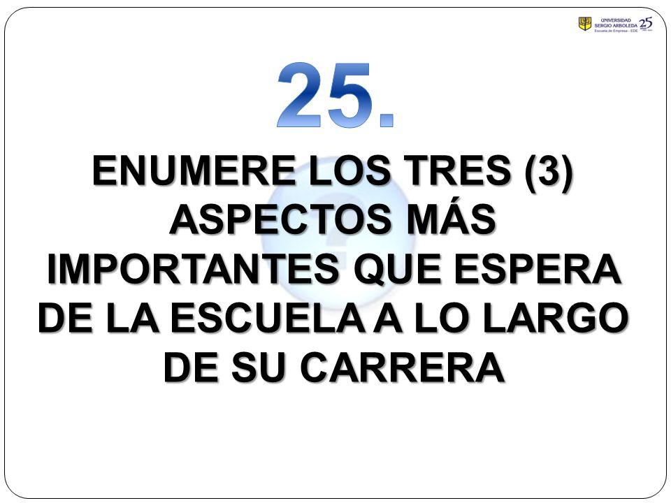 25. ENUMERE LOS TRES (3) ASPECTOS MÁS IMPORTANTES QUE ESPERA DE LA ESCUELA A LO LARGO DE SU CARRERA