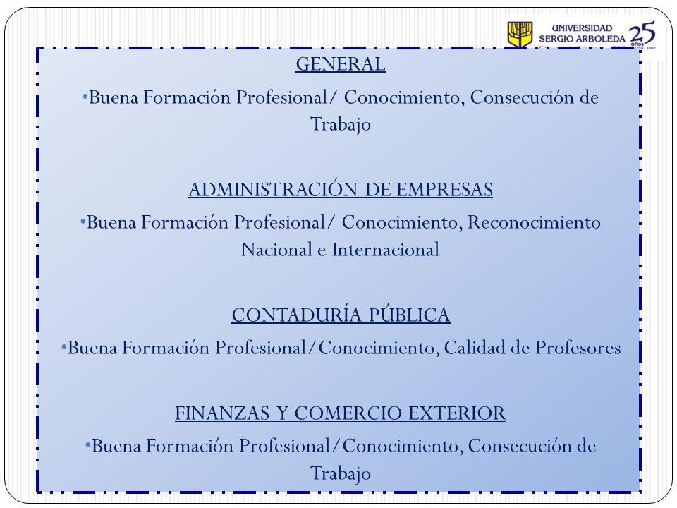 Buena Formación Profesional/ Conocimiento, Consecución de Trabajo