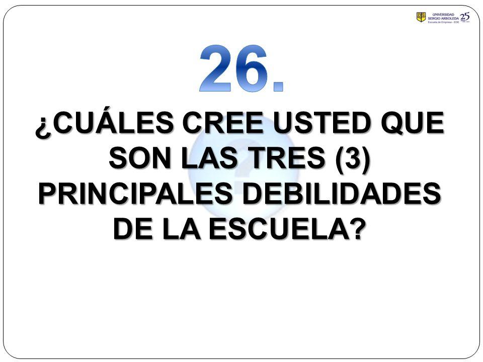 26. ¿CUÁLES CREE USTED QUE SON LAS TRES (3) PRINCIPALES DEBILIDADES DE LA ESCUELA
