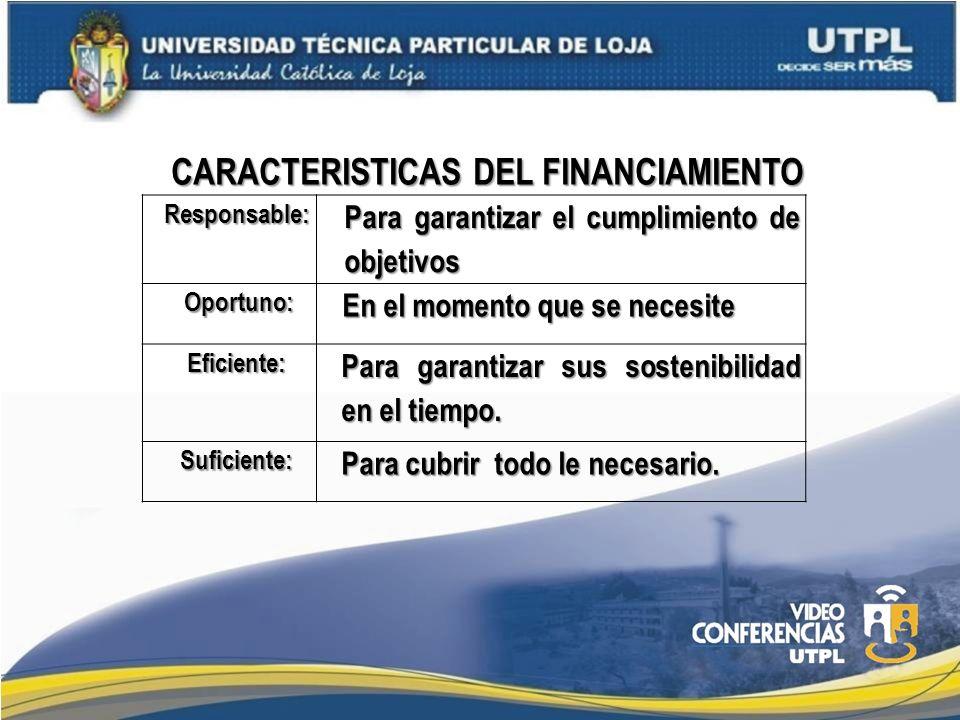CARACTERISTICAS DEL FINANCIAMIENTO