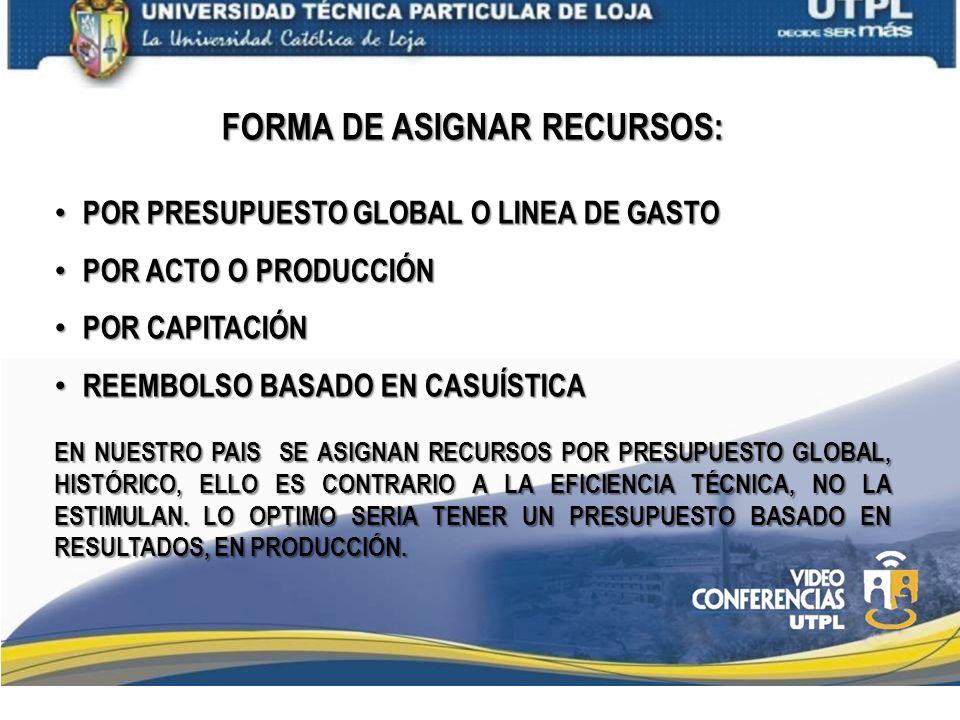 FORMA DE ASIGNAR RECURSOS: