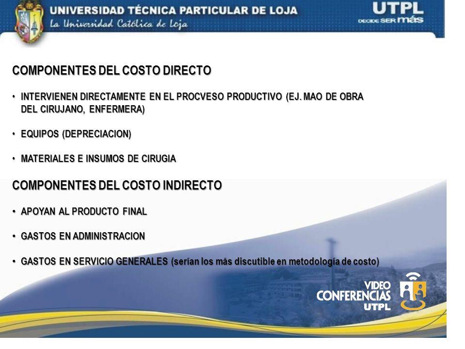 COMPONENTES DEL COSTO DIRECTO