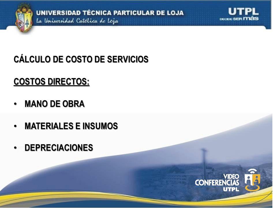 CÁLCULO DE COSTO DE SERVICIOS