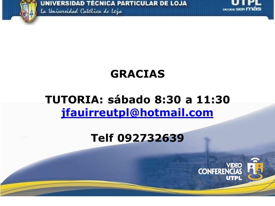 GRACIAS TUTORIA: sábado 8:30 a 11:30 jfauirreutpl@hotmail.com Telf 092732639