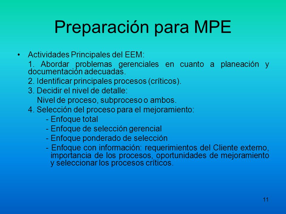 Preparación para MPE Actividades Principales del EEM: