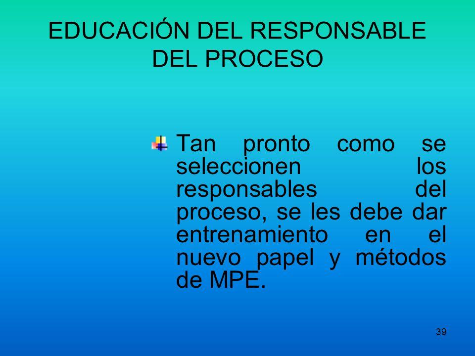 EDUCACIÓN DEL RESPONSABLE DEL PROCESO