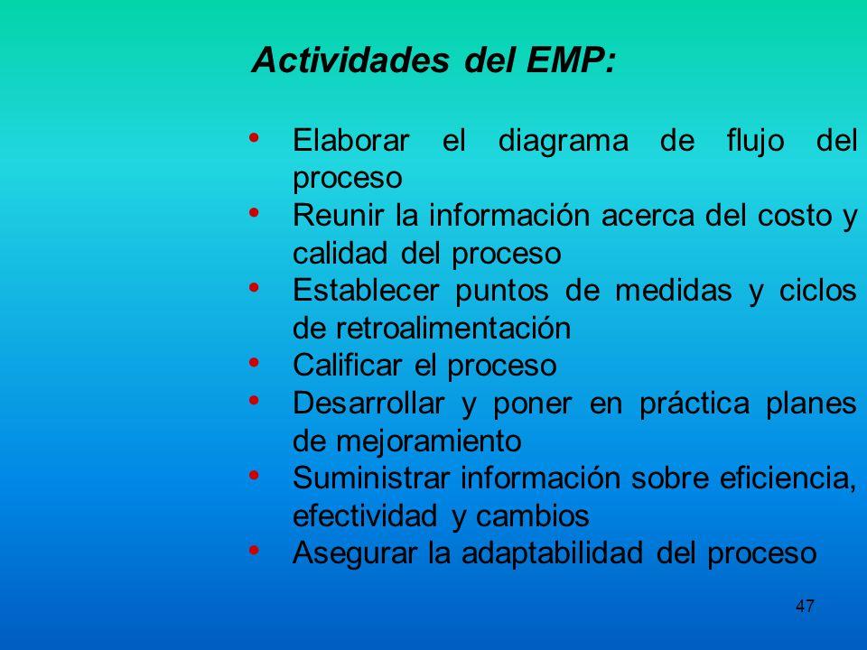 Actividades del EMP: Elaborar el diagrama de flujo del proceso