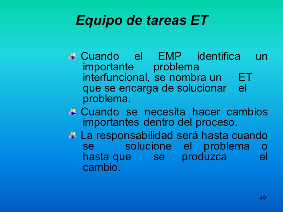 Equipo de tareas ET Cuando el EMP identifica un importante problema interfuncional, se nombra un ET que se encarga de solucionar el problema.