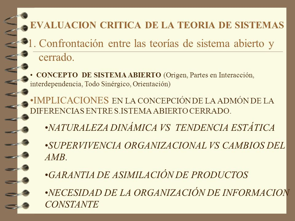 EVALUACION CRITICA DE LA TEORIA DE SISTEMAS