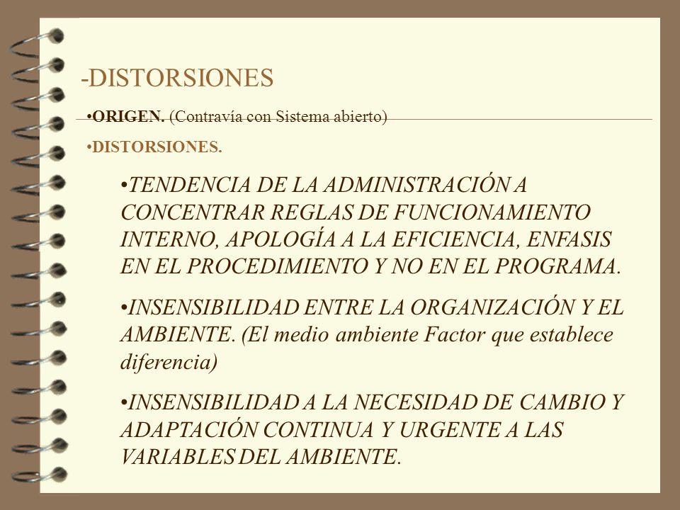 -DISTORSIONES ORIGEN. (Contravía con Sistema abierto) DISTORSIONES.