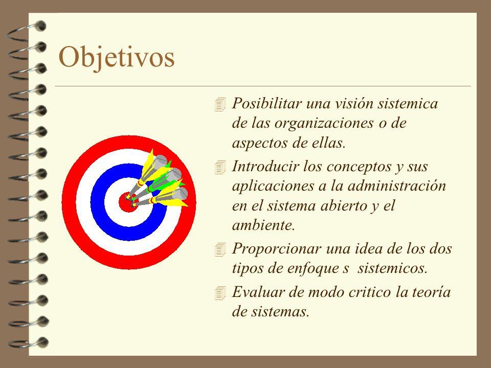 Objetivos Posibilitar una visión sistemica de las organizaciones o de aspectos de ellas.