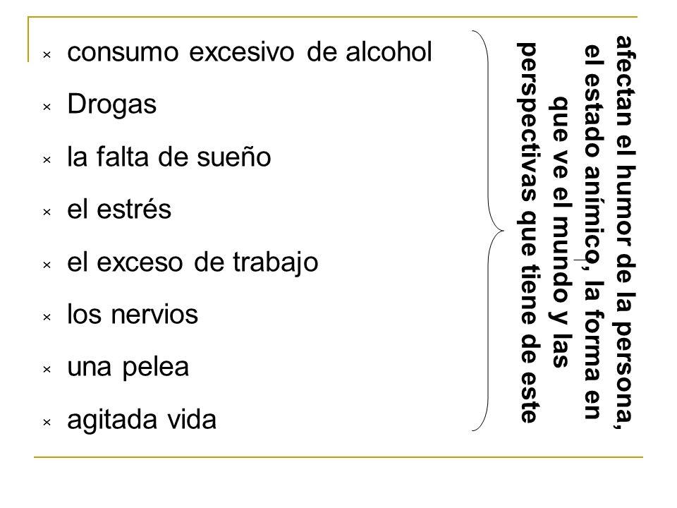 consumo excesivo de alcohol Drogas la falta de sueño el estrés