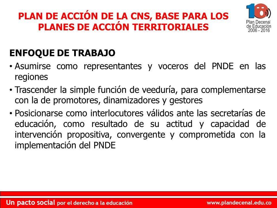 PLAN DE ACCIÓN DE LA CNS, BASE PARA LOS PLANES DE ACCIÓN TERRITORIALES