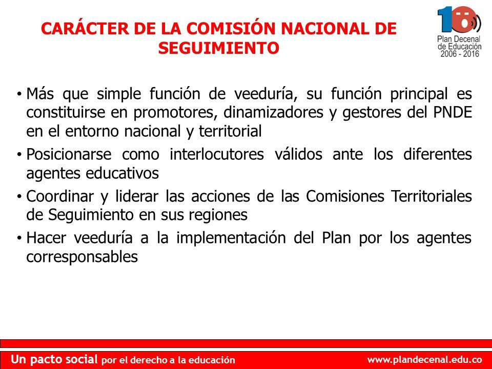 CARÁCTER DE LA COMISIÓN NACIONAL DE SEGUIMIENTO