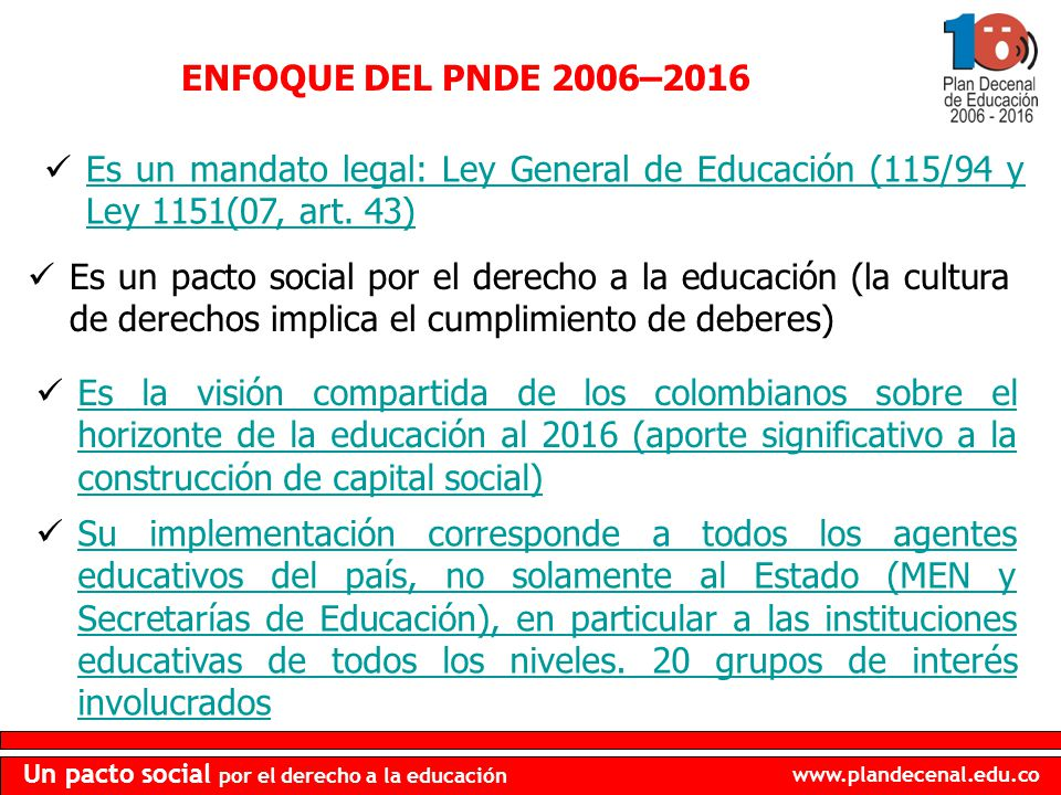 ENFOQUE DEL PNDE 2006–2016 Es un mandato legal: Ley General de Educación (115/94 y Ley 1151(07, art. 43)