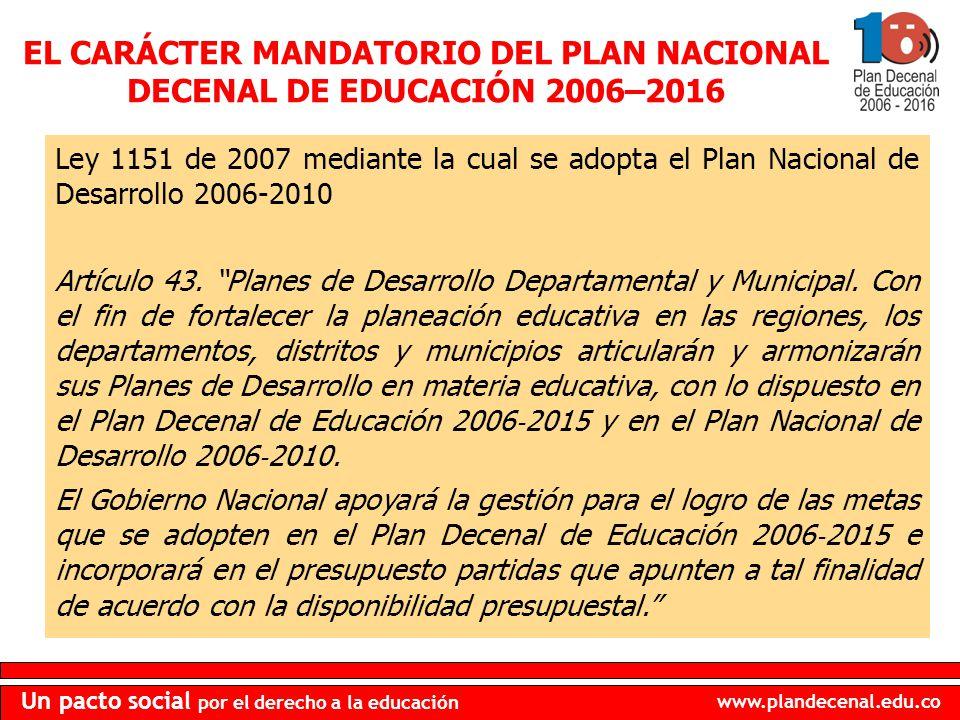 EL CARÁCTER MANDATORIO DEL PLAN NACIONAL DECENAL DE EDUCACIÓN 2006–2016