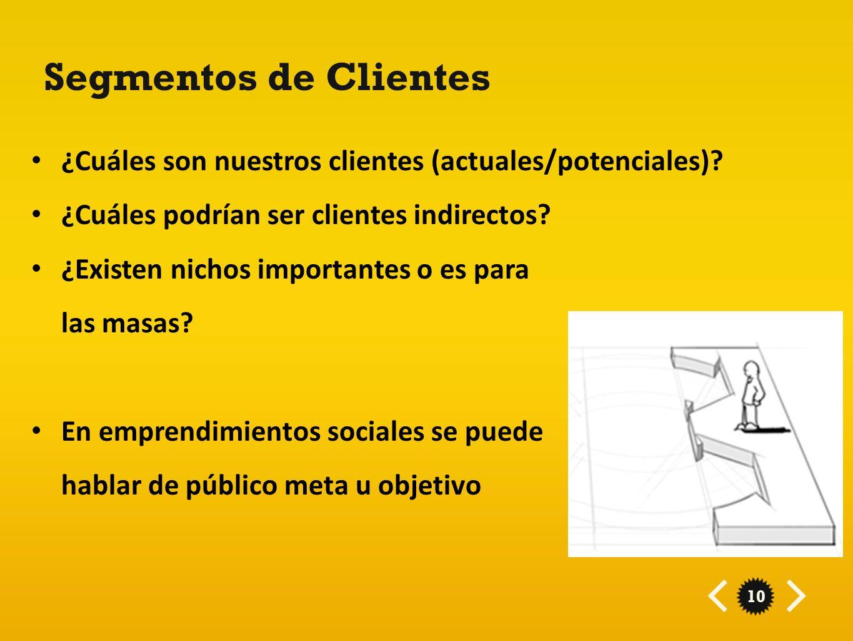 Segmentos de Clientes ¿Cuáles son nuestros clientes (actuales/potenciales) ¿Cuáles podrían ser clientes indirectos